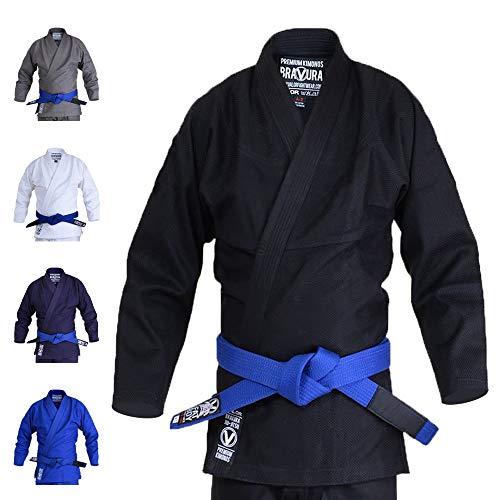 Valor Bravura Classic Plain BJJ GI con un cinturón Blanco Elite Gratis, Color Negro, tamaño A3