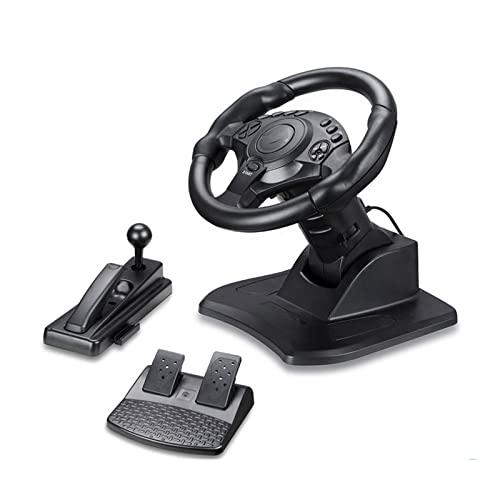 Gyalid Ordenador Personal Rueda de Carreras, Juegos Gamepad, 180 Grados universales USB Volante de Carreras de automóviles con Pedales, Juego de dirección del Juego for PS3, PS4 Juegos de vídeo