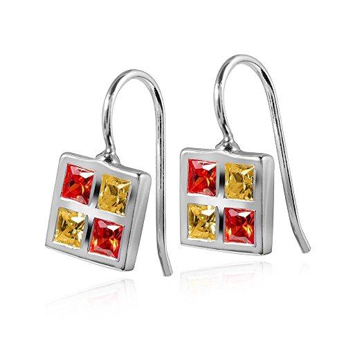 Materia Vierkante oorbellen met zirkonia Quadro – zilver 925 oorbellen rood geel incl. Box #SO-181.