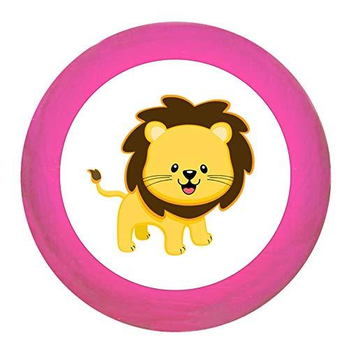 """Schrankgriff""""Löwe"""" pink Holz Buche Kinder Kinderzimmer 1 Stück wilde Tiere Zootiere Dschungeltiere Traum Kind"""