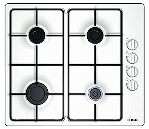 Bosch Electroménager PBP6B2B80 Plaque à gaz Série 2 - Plaque de cuisson encastrable 4 foyers - 60 cm - Puissance 7400 W - Blanc Taille Unique