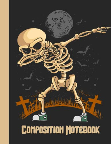 Composition Notebook: Halloween Skeleton Composition Notebook For Boys   Skeleton Dabbing In The Cemetery Surrounded By Bats