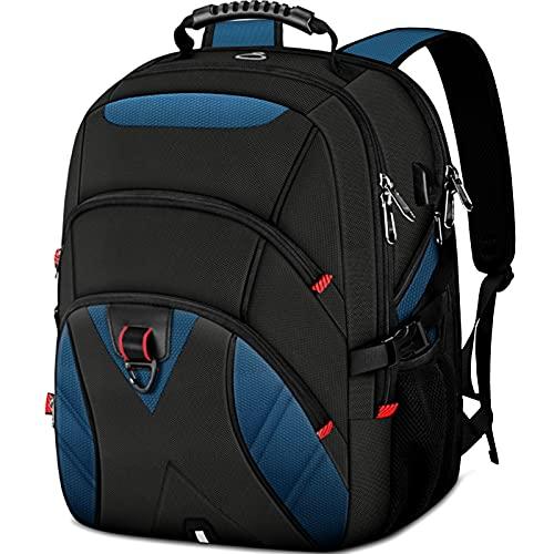 KTMOUW Laptop Rucksack Herren 17 Zoll Schulrucksack mit USB Ladeanschluss Grosser Wasserdicht Arbeit Rucksack Taschen 17,3 Zoll Business Backpack Daypack für Männer/Frauen/College/Schule Blau