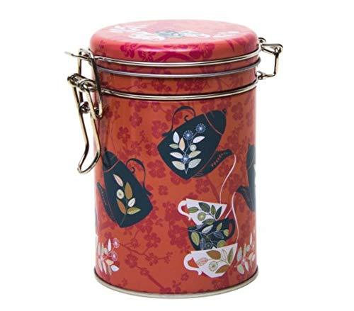 Orange Blossom Teedose/Kaffeedose im Retro-/Vintage-Stil, Küchenaufbewahrung, Blechdose, rund, 13 cm, Orange / Schwarz