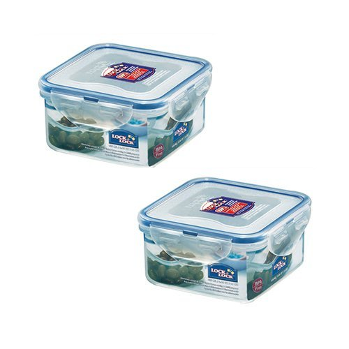 Lock & Lock HPL850 Square Short Food Container 420ml (x2)