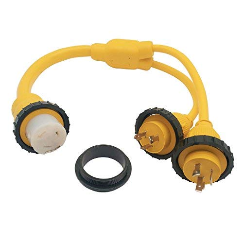 Parkworld 692033 Combiner Marine Shore Power Y Adapter L5-30P Dual Male 30A Plug to SS2-50R Female 50A Connector