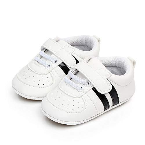 MASOCIO Unisex Baby Lauflernschuhe Jungen Mädchen Krabbelschuhe Rutschfesten Sneaker Babyschuhe- Gr. 12-18 Monate (13), Weiß Schwarz