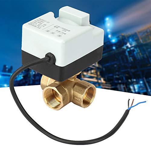 Motorisierter Kugelhahn, AC220V DN20 G3/4 3 Wege 3 Draht Elektrisches Messing Ventil mit manueller Schaltfunktion für Klimaanlage, Heizung