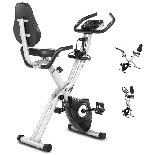 Ancheer 3 in 1 Cyclette con schienale, cyclette pieghevole con app, display LCD, 10 livelli di resistenza regolabili e cardiofrequenzimetro, dispositivo di allenamento perfetto per Cardio
