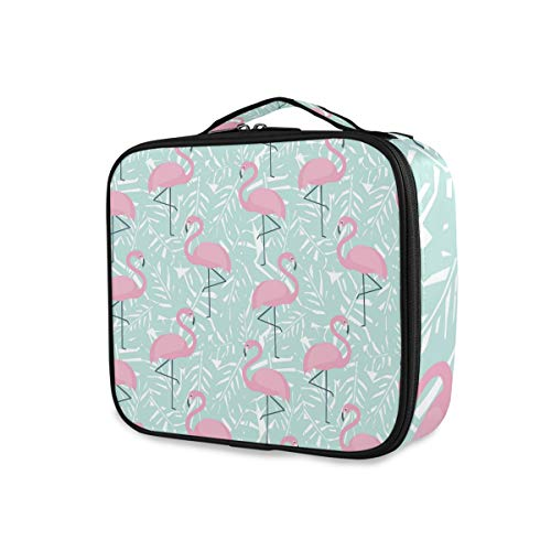 Outils de stockage portables Cosmetic Train Case Pink Flamingo Tropical Stylish Toiletry Pouch Makeup Bag Travel Organizer
