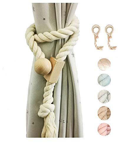 Y AKAGI Juego de 2 alzapaños magnéticos de algodón para cortina, hechos a mano, estilo rural europeo, borlas (color claro)