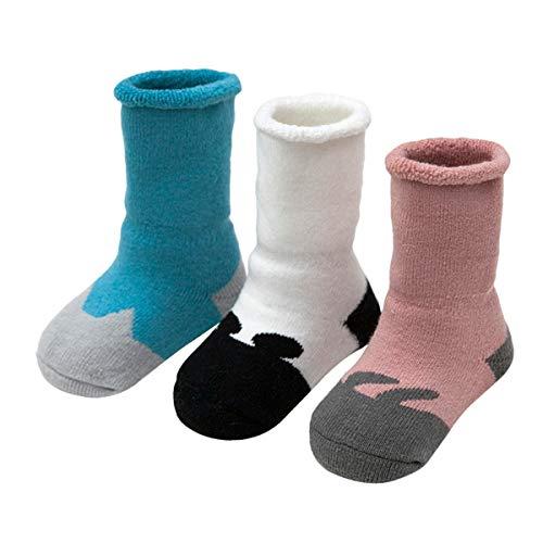 ANIMQUE Bebé Calcetines invierno para 1-3 años niños y niñas pequeños Calcetines suave gruesos de algodón cálido calcetines de becerro 3 pares animal motivo, DWG-M