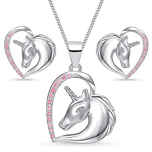 Einhorn Zirkonia Herz Pferd Set 925 echt Sterling-Silber Mädchen Kinder Ohrstecker Anhänger mit Kette (Pinkrosa, 40)