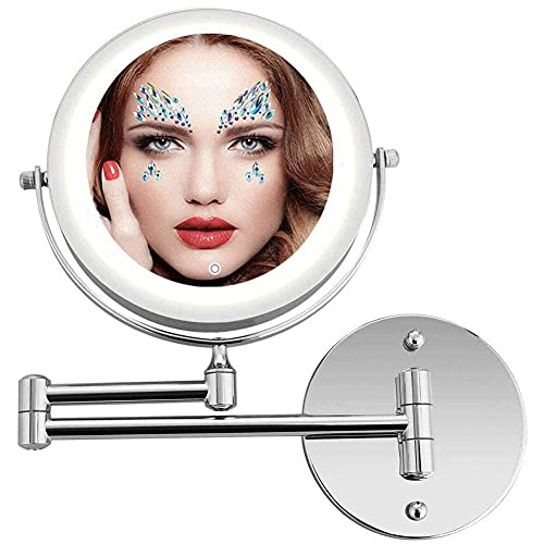 Espejo de baño, lámpara de tocador Plegable Maquillaje Espejo Iluminado LED montado en la Pared con Aumento de 10X, Pantalla táctil, Alimentado por batería y USB, Maquillaje y Afeitado