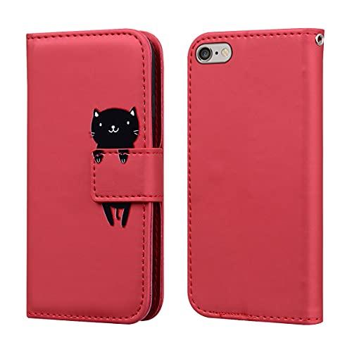 Norn Custodia per iPhone 6,iPhone 6s Flip Cover in pell PU Simpatico Cartone Animato con Portafoglio Caso,con Supporto Stand,Antiurto con Slot per schede,Magnetica a scatta,Rosso