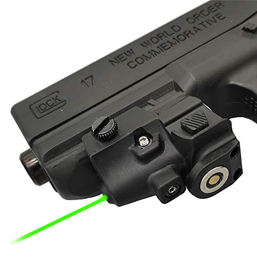 Infilight Green Laser Sight, Compact Green Dot Laser Sight Pistol Low Profile Picatinny Rail Mount Adjustable, Tactical Sights Airsoft Laser with Magnetic Contact Charging Pistol & Handguns