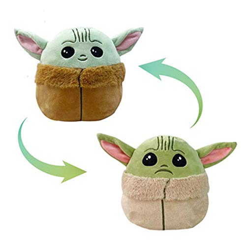 Reversible baby yoda Plush Toy Pillow Soft touch cute 6.3*6.3 inches happy& angry Feeling Doll