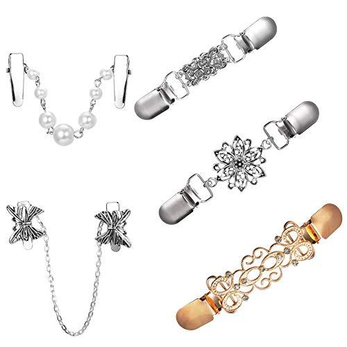 YADOCA 5 Stücke Pullover Clips für Frauen Mädchen Retro Strickjacke Kragen Clips Set Hohle Blume Perle Kleider Pullover Schal Strickjacke Kragen Clip