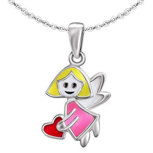 Clever Schmuck Set Silberner kleiner Mädchen Anhänger Mini Fee oder Engel, gelb rosa weiß mit Herz pink und Kette Anker 40 cm STERLING SILBER 925