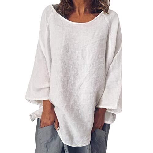 IZHH Damen Casual O-Neck T-Shirts, Solide 3/4 Ärmel Leinen Leinen Pullover Mode Tops Bluse (2XL, Weiß)
