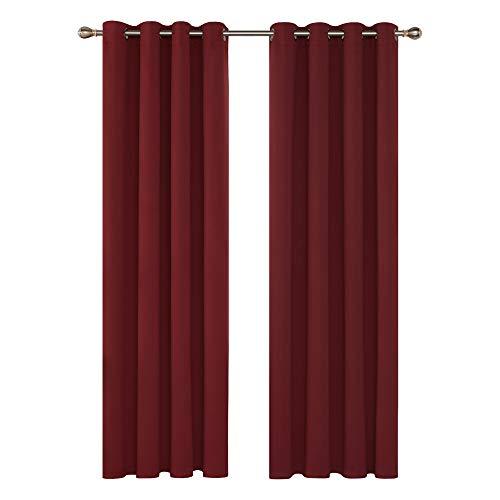 Deconovo Cortina Salon Opacas Dormitorio Moderno con Aislamiento Térmico Color Liso Decoración Hogar 2 Piezas 140 x 245 cm Rojo Oscuro