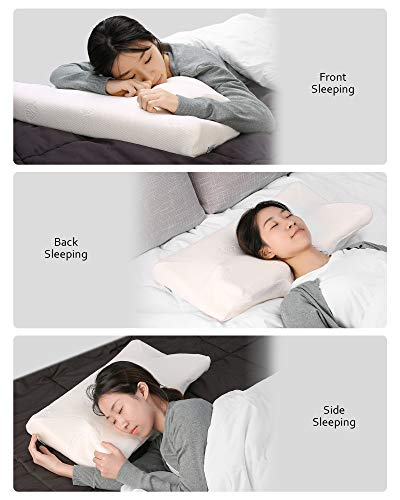 MARNUR Cervical Pillow Contour Memory Foam Orthopedic Pillow for Neck Support Sleeping for Side Sleeper Back Sleeper Stomach Sleeper+White Pillowcase(1 PCS)