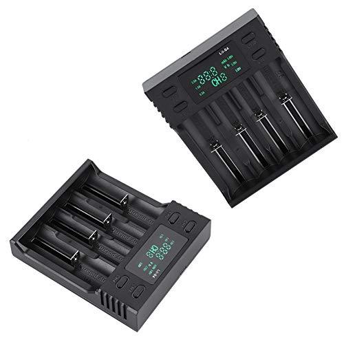 Batterijoplader, DC 5V2A slimme batterijoplader Vier sleuven met voedingsdisplay, DC5.0V2A (nominaal) ingang, onafhankelijk opladen met 4 slots, Microcomputer Management System
