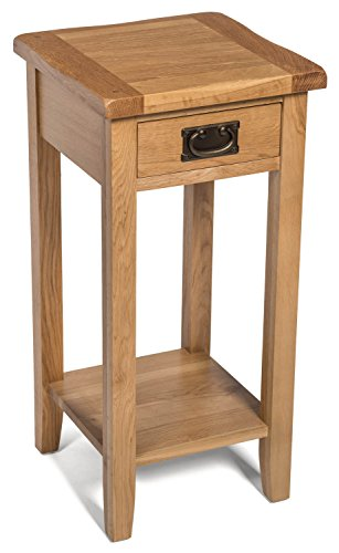 Hallowood Monchique 1 Drawer Compact/Small/Tall Side Plant Table | Wooden Bedside/Console/Lamp/Telephone Stand with Shelf, Light Oak, (AD31B)