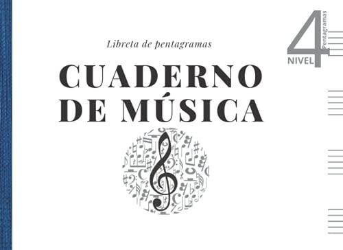 Cuaderno de música - Libreta de pentagramas: Papel pentagramado apaisado - 4 pentagramas por página para escribir en pauta musical. A5+ Nº4