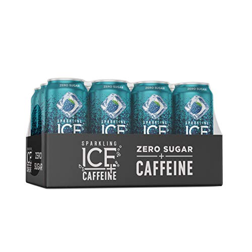 Sparkling Ice +Caffeine Blue Raspberry Sparkling Water, with Antioxidants and Vitamins, Zero Sugar, 16 fl oz Cans (Pack Of 12)
