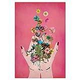 artboxONE Poster 45x30 cm Floral Frida's Hands (pink)