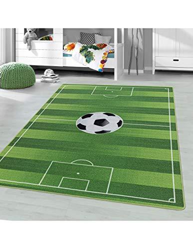 Carpet 1001 Kinderteppich Spielteppich Kinderzimmer Teppich Fussball Stadion Grün - 140x200 cm