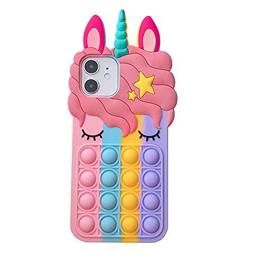 HiChili Custodia per iPhone 6/7/8/SE Fidget Toys Cabina Telefonica, Unicorno Arcobaleno Pop-it Cover for iPhone SE 2020/6/7/8, Push Bubble Fidget Sensory Toy Stress Relief Silicone Phone Case