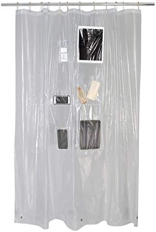 Bath Bliss Liner Holds Protects Phones 70 x 72 PVC Shower Curtain with 6 Mesh Pockets for Storage product image