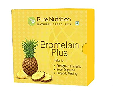 Pure Nutrition Bromelain Plus 2400 GDU - New and Revised Bromelain Enzymes with Vitamin D3, C and B6. 15 Powder Sachet X 4 Grams Each. 60 Grams Pack. Non-GMO   Gluten-Free