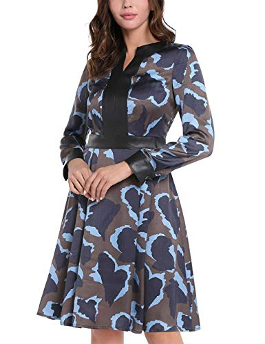 APART Fashion Damen Printed Dress Kleid, Braun-multicolor, 40 EU