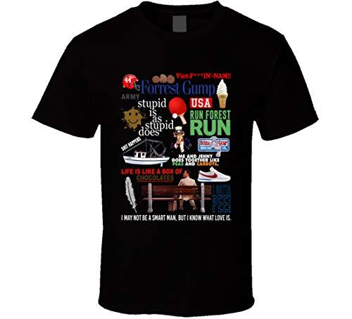 FUBAO Forrest Gump Affiche de film classique avec citation Mashup Tom Hanks Fan T Shirt Noir - Noir - XXX-Large