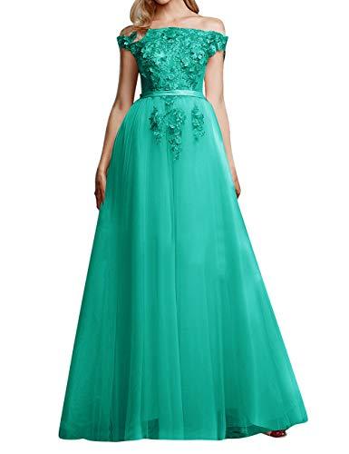 Abendkleid Lang Vintag Brautkleid Hochzeitskleid A-Linie Tüll Ballkleid Standesamt Kleider Partykleid Türkis 46