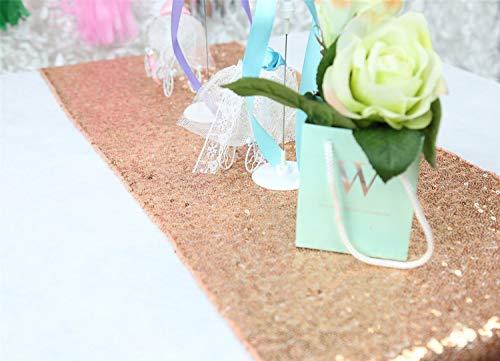 Pingrog Hot Rose Gold Pailletten tafelloper voor bruiloften, evenementen, feesten, unicum, decoratie, linnen, goud, 14 x 90 cm