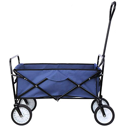 """Collapsible Outdoor Utility Wagon, Heavy Duty Folding Garden Portable Hand Cart, with 8"""" Rubber Wheels and Drink Holder, Suit for Shopping and Park Picnic, Beach Trip and Camping (Navy Blue)"""