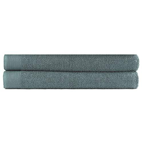 Famehours Juego de toallas de sauna (2 piezas, algodón, 450 g/m², 80 x 200 cm), color verde