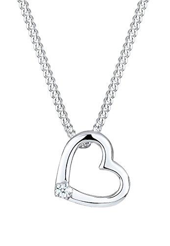 Diamore Damen Schmuck Echtschmuck Halskette Kette Anhänger Herz Liebe Geschenkverpackung Schmucketui Sterling Silber 925 Diamant 0,02 Karat Länge 45 cm