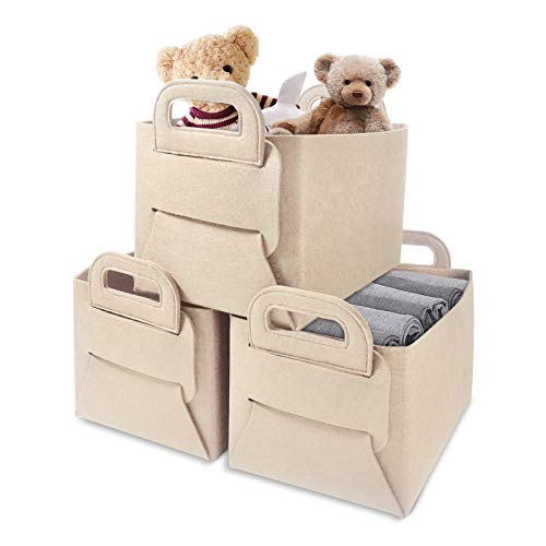 """GOHOME Felt Storage Basket 3 Pack, Closet Storage Bins with Handles, Foldable Storage Cubes for Nursery, Office, Organizing, Laundry, Toys, Clothes and Blankets -14""""x 10""""x 9"""" (Beige 3 Pack)"""