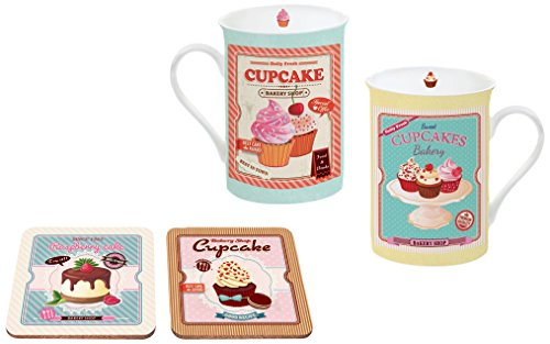 """Kaffeetassen Set \""""Cupcake\"""" 300ml (2 Tassen, 2 Untersetzer, 1 Metallbox)"""