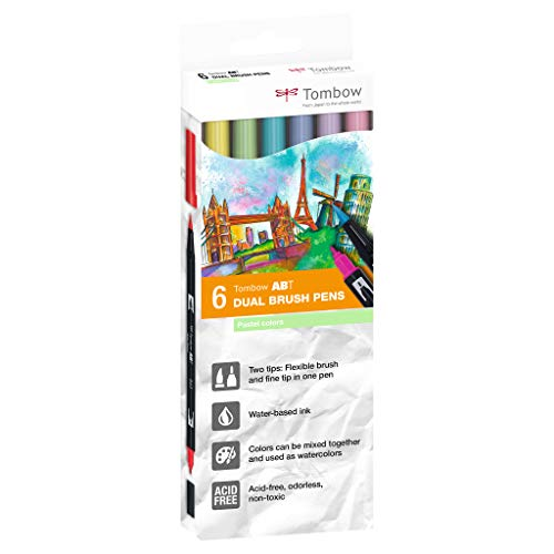 Tombow - Rotuladores (6 unidades, punta de pincel doble, colores pastel)