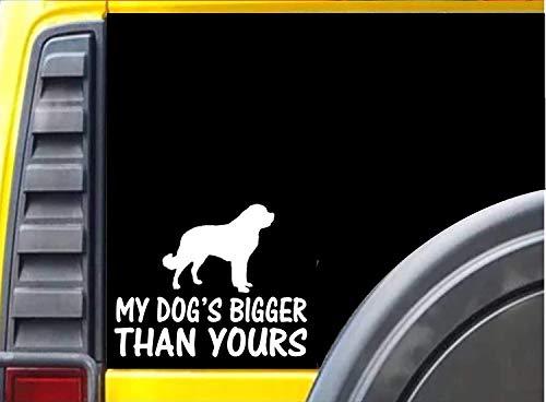 Yilooom Mijn Hond is groter dan de jouwe Sticker Saint Bernard Dog Decal - Die Cut Vinyl Auto Sticker Bumper Sticker Window Laptop Sticker 2 Pack 4 Inches Aan Longest End 6 inches Meerkleurig