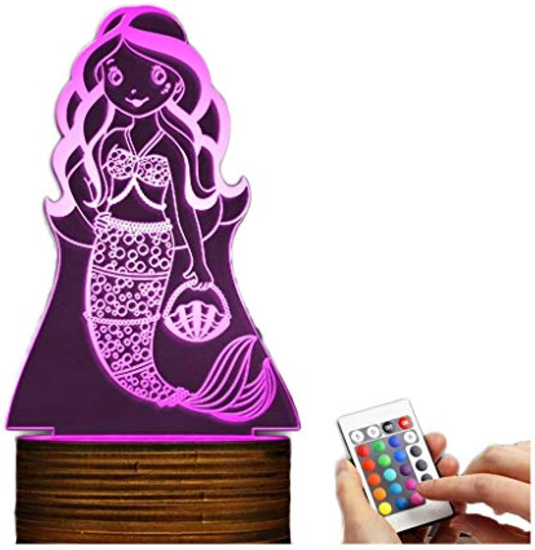 3D dekoratives Nachtlicht 3D LED-Lampen-Meerjungfrau-optische Tuschungs-Nachtlicht, USB-angetriebene Fernbedienung ndert die Farbe des Lichtes, Schlafzimmer Wohnzimmer Schreibtisch Tischdekoration E
