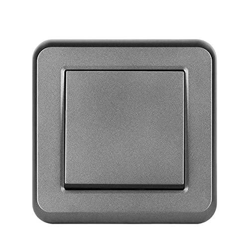 Interruptor de luz 1gang 1way 16a 250v Nuevo panel de PC retardante de llama blanco 82mm * 82mm Switch de pared UE-gris