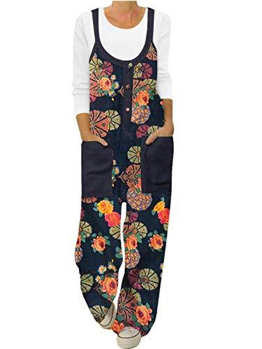 ACHIOOWA Latzhose Damen Floral Overall Jumpsuit Ärmellos Lange Hose Schwarz-G22867 XXL