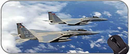 XXL Gaming Mouse Pad duże podkładki na biurko, F-15 Eagle Jet Fighter Profesjonalny podkładka podkładka, szyte krawędzie
